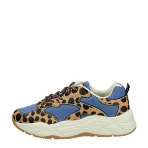 Celest Running Low  leren chunky sneakers met panterprint