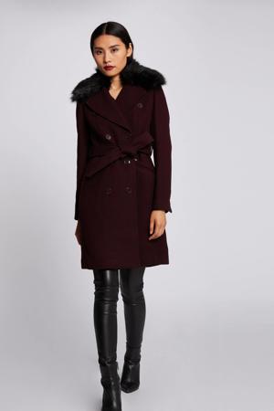 coat met wol bordeaux
