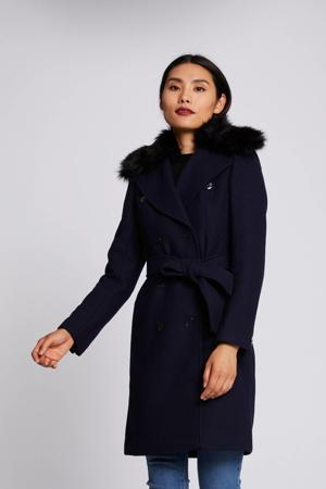 coat winter met wol marine