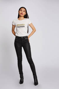 Morgan imitatieleren skinny broek zwart, Zwart