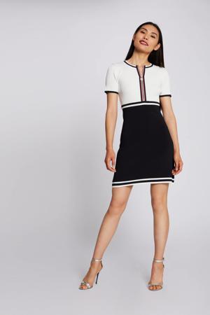 gebreide jurk donkerblauw/wit