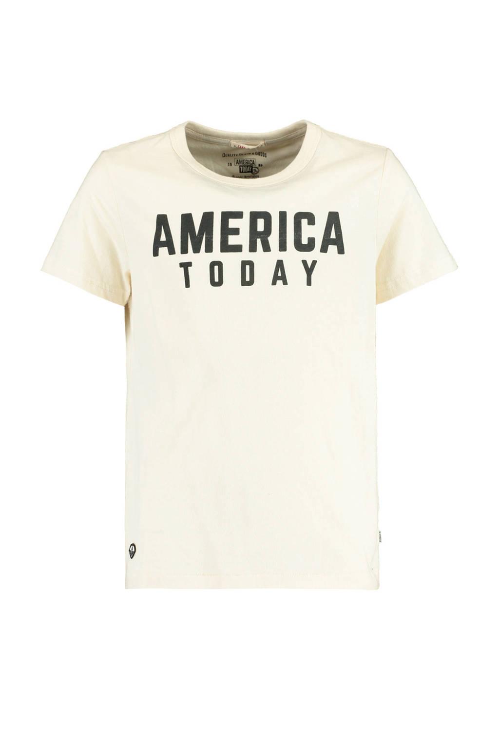 America Today Junior T-shirt Easton met logo ecru/zwart, Ecru/zwart