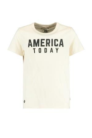 T-shirt Easton met logo ecru/zwart
