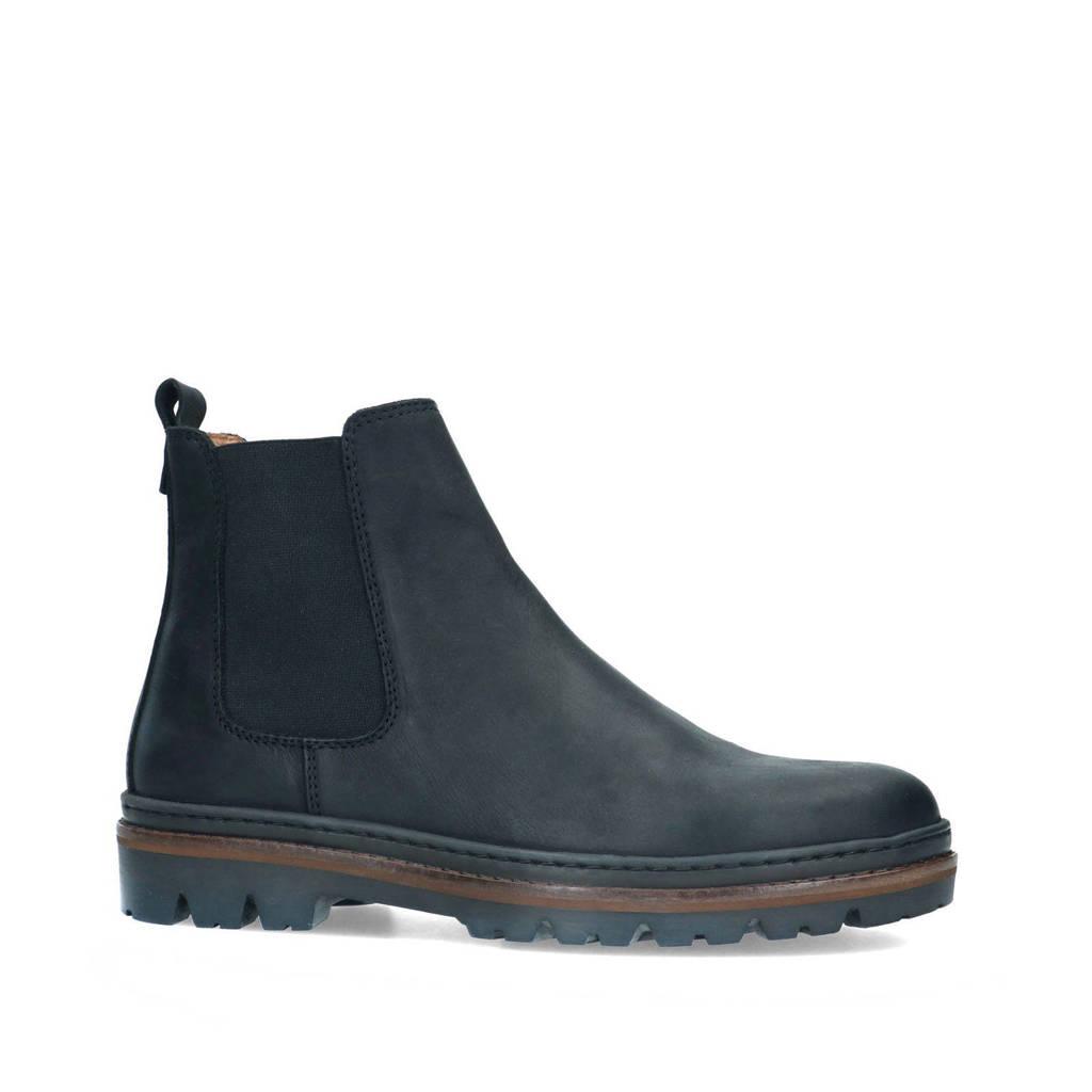 Manfield   leren cheslea boots zwart, Zwart