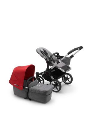 Donkey 3 Mono kinderwagen/stoel/reiswieg , aluminium frame/gemȇleerd grijze stof/rode zonnekap