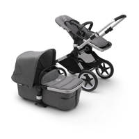 Bugaboo Fox 2 kinderwagen/stoel/reiswieg, aluminium frame/gemȇleerd grijze stof/gemȇleerd grijze zonnekap, aluminium frame, gem?leerd grijze stof en gem?leerd grijze zonnekap