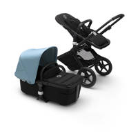 Bugaboo Fox 2 kinderwagen/stoel/reiswieg, zwart frame/zwarte stof /vapor blue zonnekap, zwarte frame, zwarte stof en vapor blue zonnekap