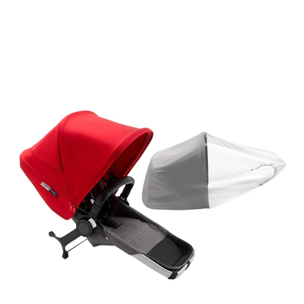 Bugaboo Donkey 3 Duo uitbreiding bekledingset, aluminium frame/gemȇleerd grijze stof/rode zonnekap, Rood