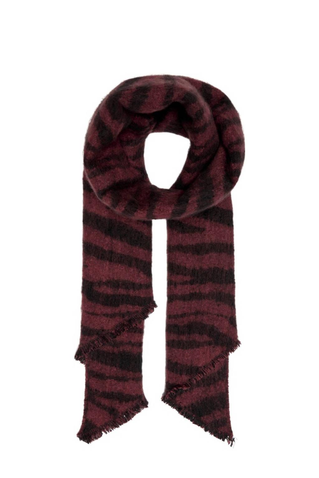 ONLY sjaal met tijgerprint bruin, Bruin/zwart