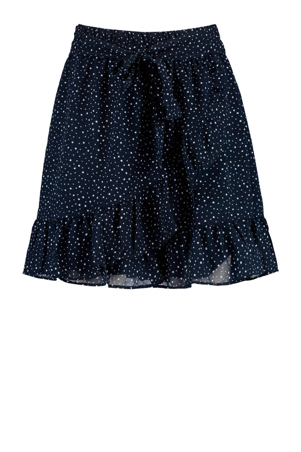 America Today rok met stippen en volant donkerblauw/wit, Donkerblauw/wit