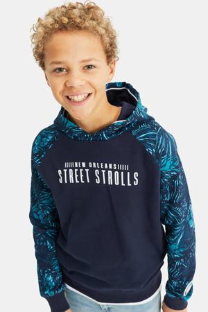 hoodie met bladprint donkerblauw/turquoise