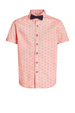 slim fit overhemd met afneembaar vlinderstrikje zalmroze