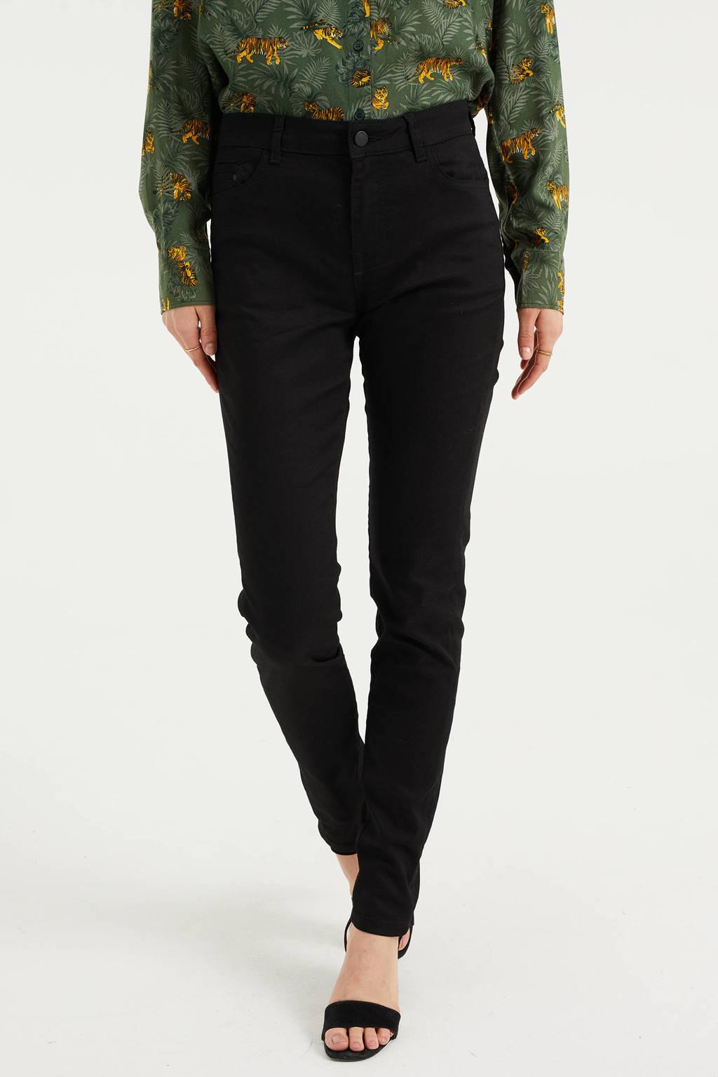 WE Fashion Blue Ridge high waist skinny jeans zwart, Zwart