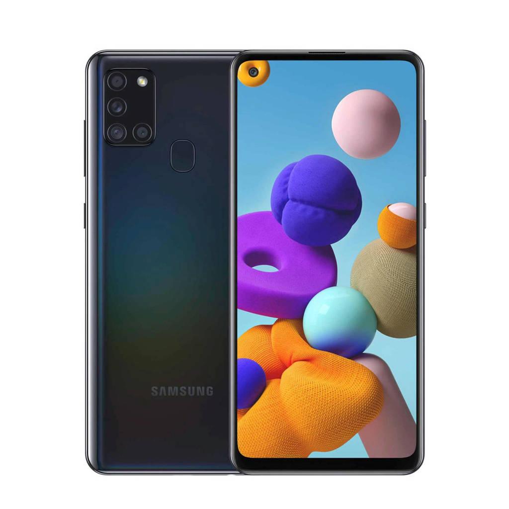 Samsung GALAXY A21S (zwart) + flip case, Zwart