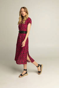 Expresso maxi jurk met all over print en ceintuur paars, Paars