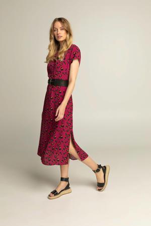 maxi jurk met all over print en ceintuur paars