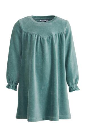 ribgebreide A-lijn jurk Naribba met biologisch katoen groen