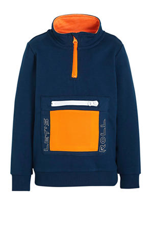 baby sweater Nam met printopdruk en mesh petrol/oranje/wit
