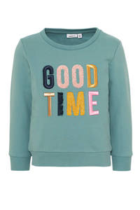 NAME IT MINI sweater Nogim met tekst groen/roze, Groen/roze
