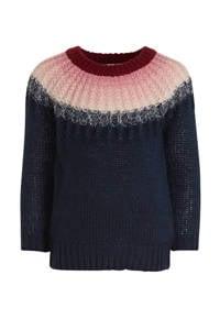 NAME IT MINI trui Nana donkerblauw/roze/donkerrood, Donkerblauw/roze/donkerrood