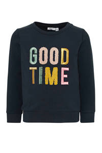 NAME IT MINI sweater Nogim met tekst groen/roze, Donkerblauw/geel/roze