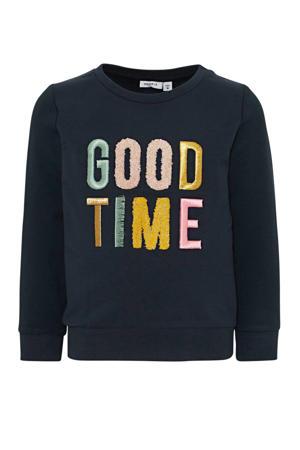 sweater Nogim met tekst groen/roze
