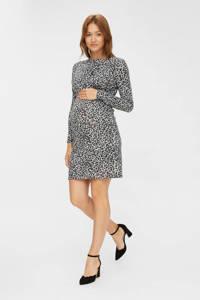 MAMALICIOUS zwangerschapsjurk Zeanna van gerecycled polyester ecru/zwart, Ecru/zwart