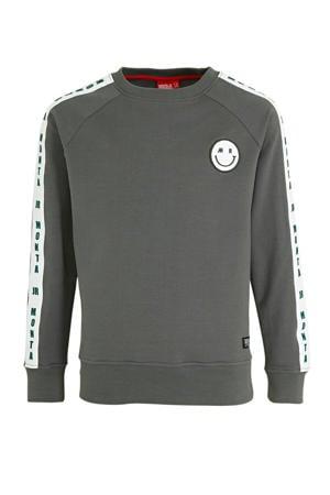 sweater Charlie met printopdruk grijs/wit