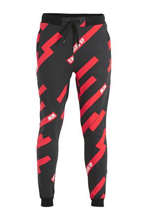 regular fit joggingbroek Paulo met all over print zwart/rood/wit