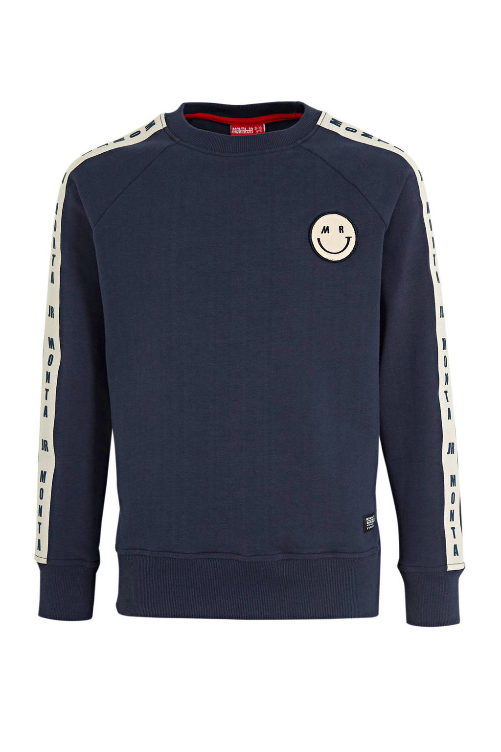 Monta sweater Charlie met printopdruk donkerblauw/wit, Donkerblauw/wit