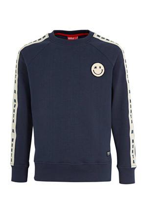 sweater Charlie met printopdruk donkerblauw/wit