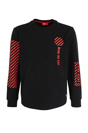 sweater Thoma met printopdruk zwart/rood