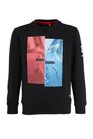 sweater Canyon met printopdruk zwart/rood/blauw