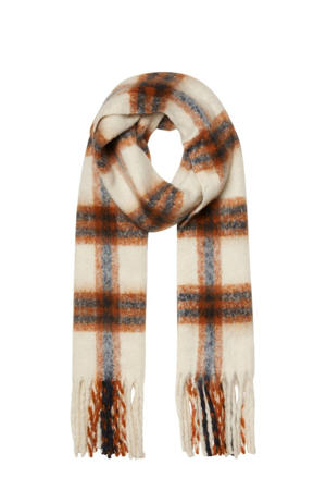 geruite sjaal ecru/bruin