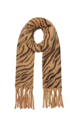 sjaal met zebraprint camel