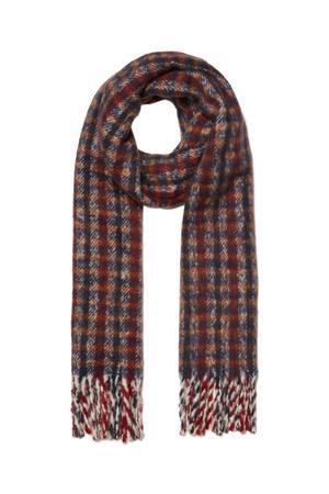 sjaal rood/donkerblauw