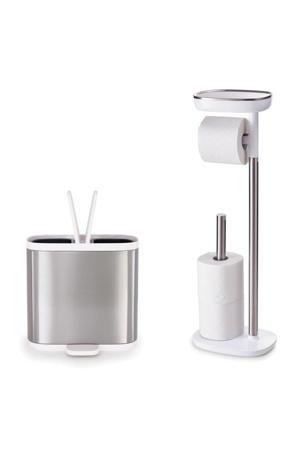Split afvalemmer + Joseph Joseph EasyStore staande toiletrolhouder (6 liter) Zilverkleurig,Wit