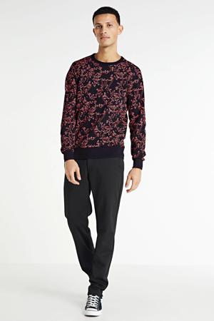 sweater met all over print zwart/roze