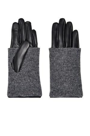 leren handschoenen zwart/grijs