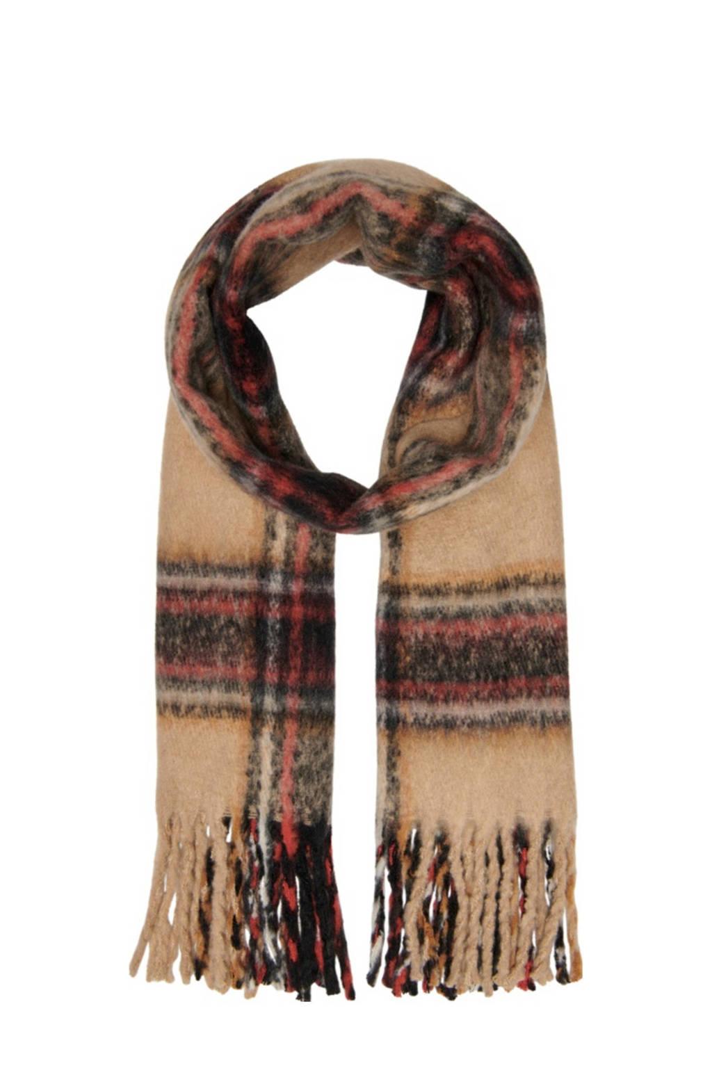 ONLY geruite sjaal beige, Beige/rood