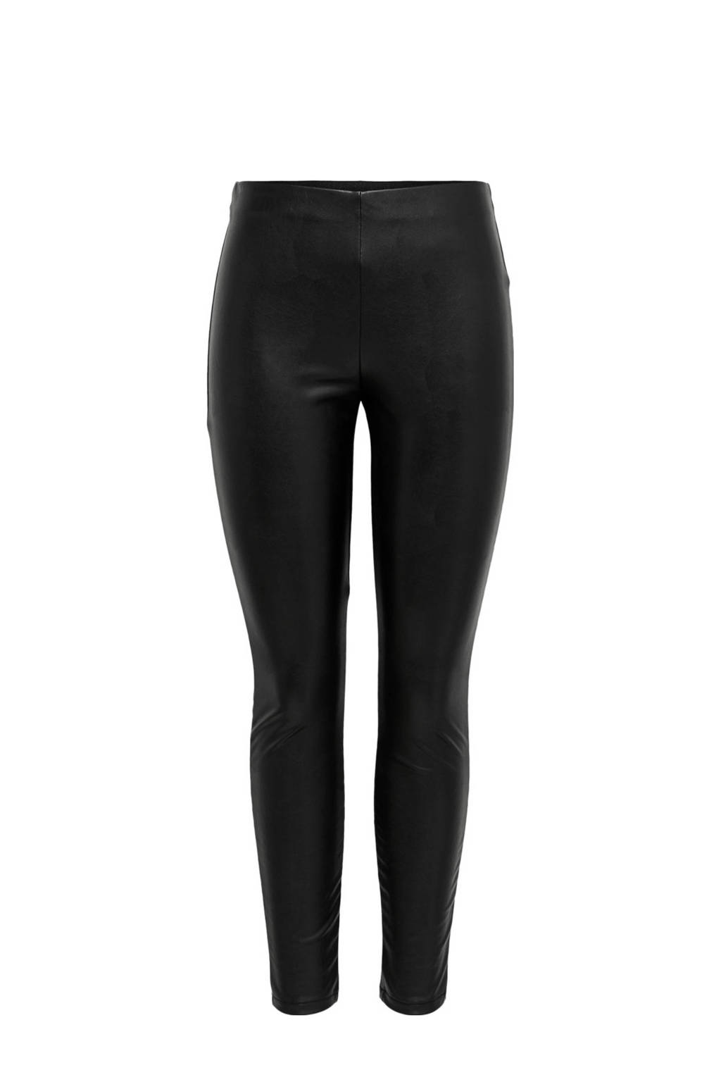 ONLY imitatieleren legging zwart, Zwart