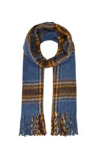 ONLY geruite sjaal met franje blauw, Blauw/camel