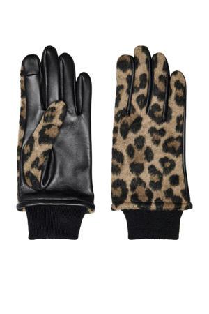 leren handschoenen met panterprint zwart/bruin