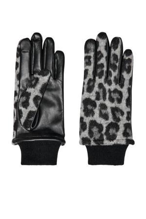leren handschoenen met panterprint zwart/grijs