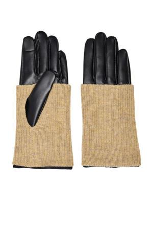 leren handschoenen zwart/beige