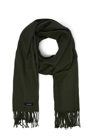 sjaal met franjes donkergroen
