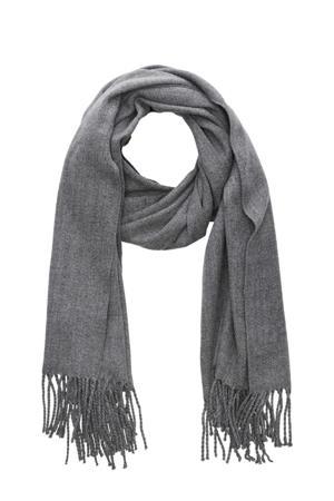 sjaal met franjes grijs