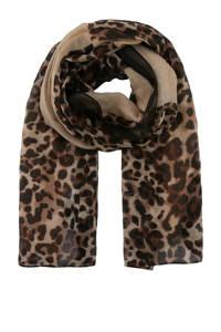 PIECES panterprint sjaal beige/zwart, Beige/zwart