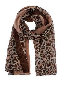PIECES panterprint sjaal taupe/zwart, Taupe/zwart