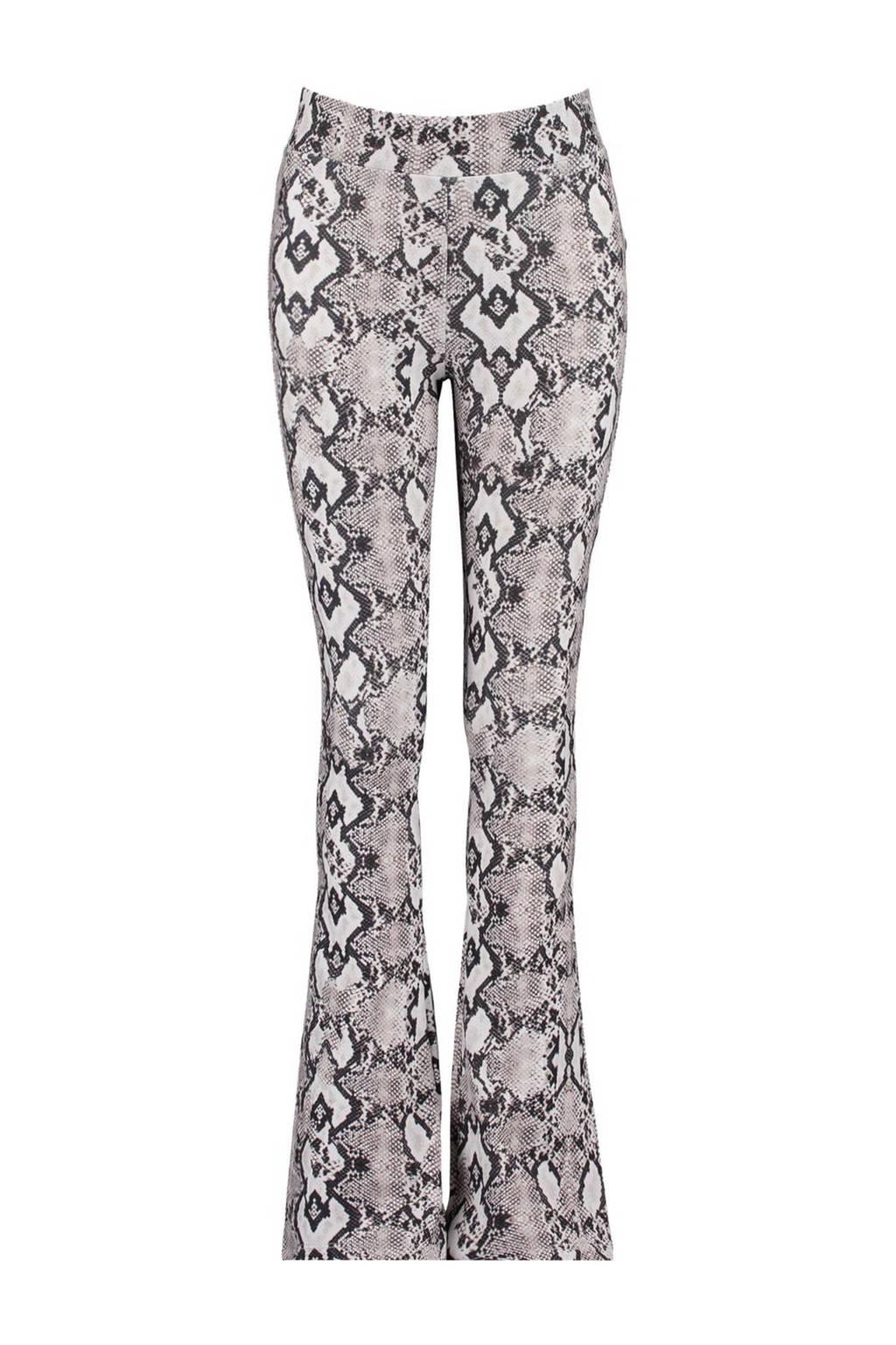 CoolCat Junior flared broek Philou met panterprint ecru/zwart/bruin, Zwart/beige